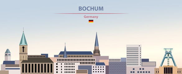 Fototapete - Vector illustration of Bochum city skyline on colorful gradient beautiful day sky background with flag of Germany
