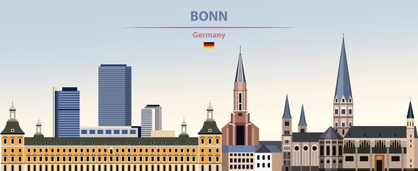 Fototapete - Vector illustration of Bonn city skyline on colorful gradient beautiful day sky background with flag of Germany