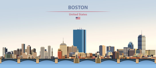 Wall Mural - Vector illustration of  Boston city skyline on colorful gradient beautiful day sky background with flag of United States