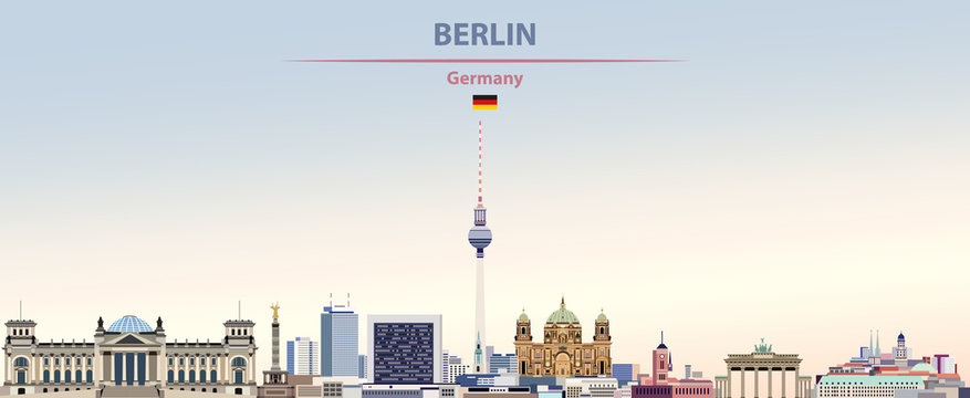 Vector illustration of Berlin city skyline on colorful gradient beautiful day sky background with flag of Germany