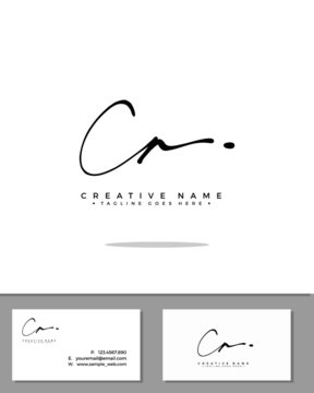 C A CA initial handwriting logo template vector.  signature logo concept