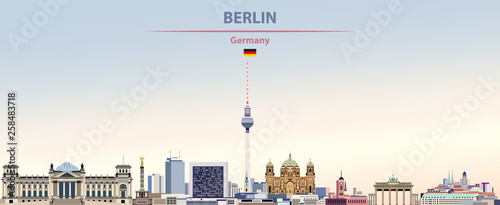 Fototapete Vector illustration of Berlin city skyline on colorful gradient beautiful day sky background with flag of Germany