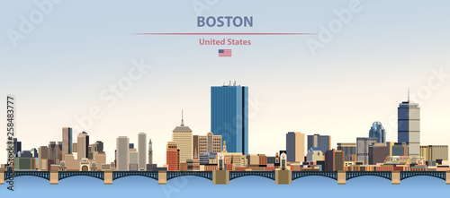 Fototapete Vector illustration of  Boston city skyline on colorful gradient beautiful day sky background with flag of United States