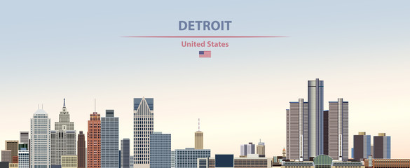 Wall Mural - Vector illustration of  Detroit city skyline on colorful gradient beautiful day sky background with flag of United States