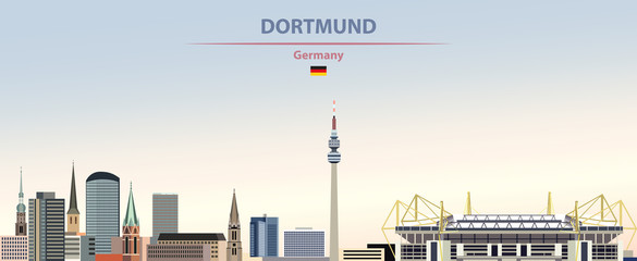 Wall Mural - Vector illustration of Dortmund city skyline on colorful gradient beautiful day sky background with flag of Germany