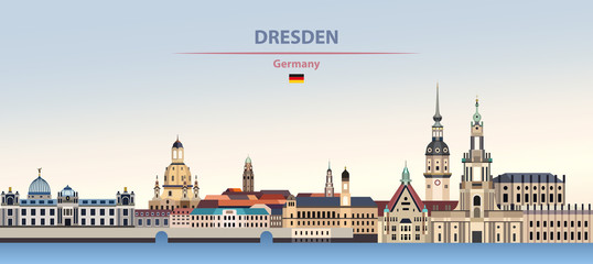 Fototapete - Vector illustration of Dresden city skyline on colorful gradient beautiful day sky background with flag of Germany
