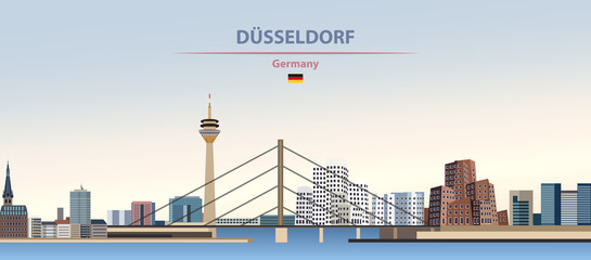 Wall Mural - Vector illustration of Dusselforf city skyline on colorful gradient beautiful day sky background with flag of Germany