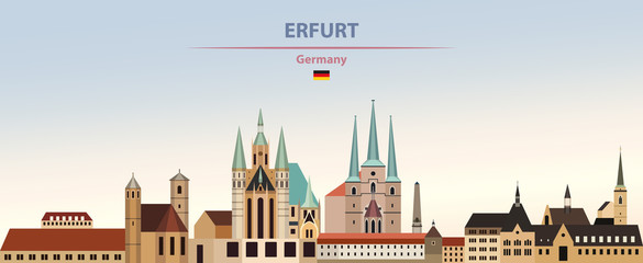 Fototapete - Vector illustration of Erfut city skyline on colorful gradient beautiful day sky background with flag of Germany