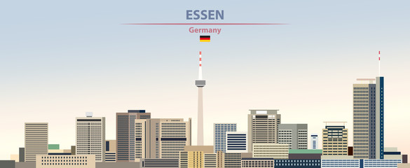 Fototapete - Vector illustration of Essen city skyline on colorful gradient beautiful day sky background with flag of Germany