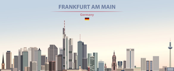 Fototapete - Vector illustration of Frankfurt am Main city skyline on colorful gradient beautiful day sky background with flag of Germany