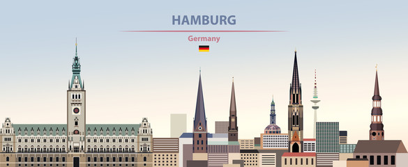 Fototapete - Vector illustration of Hamburg city skyline on colorful gradient beautiful day sky background with flag of Germany