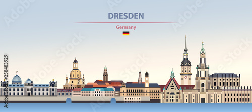 Fototapete Vector illustration of Dresden city skyline on colorful gradient beautiful day sky background with flag of Germany