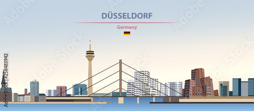 Fototapete Vector illustration of Dusselforf city skyline on colorful gradient beautiful day sky background with flag of Germany