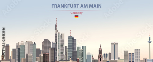 Fototapete Vector illustration of Frankfurt am Main city skyline on colorful gradient beautiful day sky background with flag of Germany