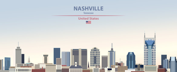 Fototapete - Vector illustration of  Nashville city skyline on colorful gradient beautiful day sky background with flag of United States