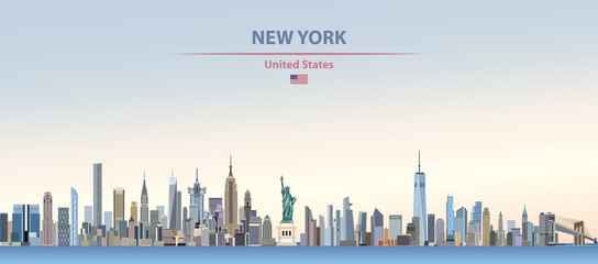 Wall Mural - Vector illustration of  New York city skyline on colorful gradient beautiful day sky background with flag of United States