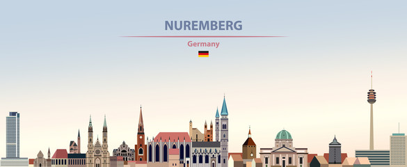 Wall Mural - Vector illustration of Nuremberg city skyline on colorful gradient beautiful day sky background with flag of Germany