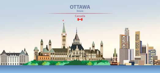 Wall Mural - Vector illustration of Ottawa, city skyline on colorful gradient beautiful day sky background with flag of Canada