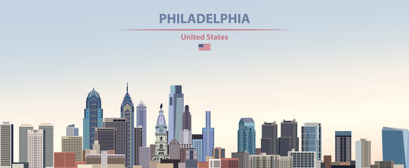 Wall Mural - Vector illustration of  Philadelphia city skyline on colorful gradient beautiful day sky background with flag of United States