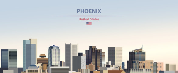 Wall Mural - Vector illustration of  Phoenix city skyline on colorful gradient beautiful day sky background with flag of United States