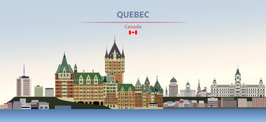 Fototapete - Vector illustration of Quebec city skyline on colorful gradient beautiful day sky background with flag of Canada