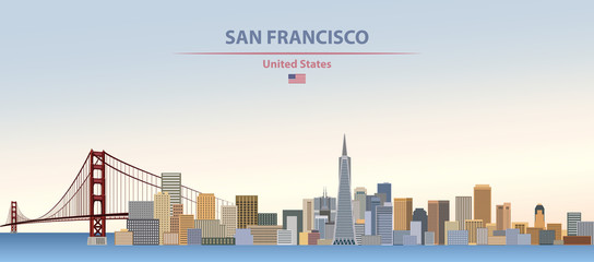 Wall Mural - Vector illustration of  San Francisco city skyline on colorful gradient beautiful day sky background with flag of United States