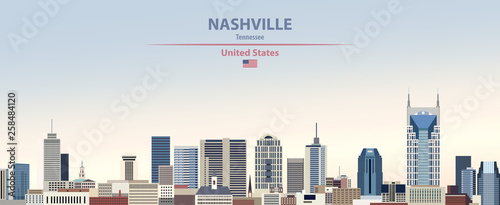 Fototapete Vector illustration of  Nashville city skyline on colorful gradient beautiful day sky background with flag of United States