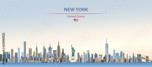 Fototapete Vector illustration of  New York city skyline on colorful gradient beautiful day sky background with flag of United States