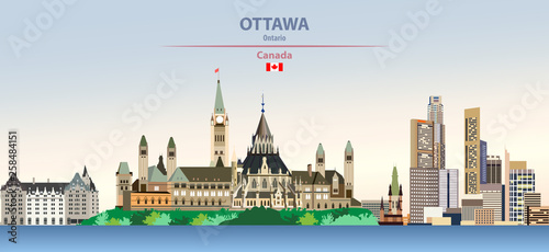 Fototapete Vector illustration of Ottawa, city skyline on colorful gradient beautiful day sky background with flag of Canada