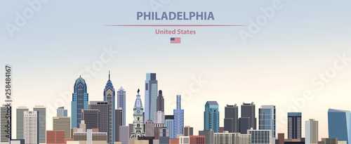 Fototapete Vector illustration of  Philadelphia city skyline on colorful gradient beautiful day sky background with flag of United States