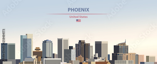Fototapete Vector illustration of  Phoenix city skyline on colorful gradient beautiful day sky background with flag of United States