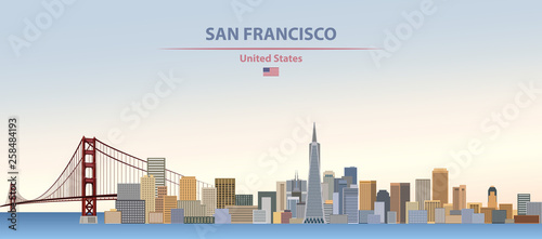 Fototapete Vector illustration of  San Francisco city skyline on colorful gradient beautiful day sky background with flag of United States