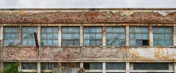 Autocollant pour porte Les vieux bâtiments abandonnés abandoned factory warehouse with broken windows