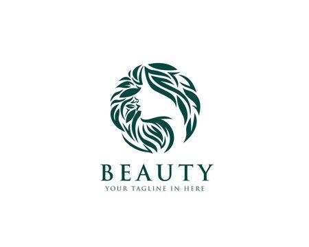circle beauty Natural women face logo design inspiration