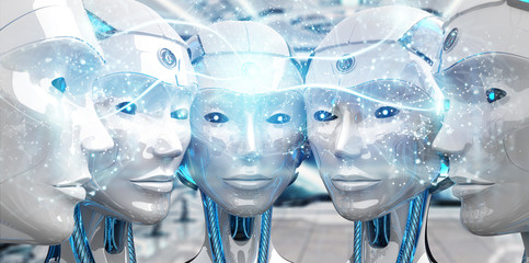 Group of female robots heads creating digital sphere network 3d rendering