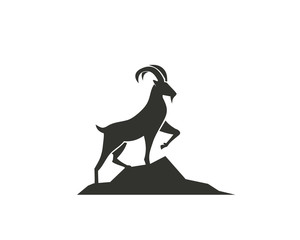 Stand goat on rock logo design inspiration