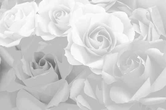 Beautiful white decoration artificial paper rose flower background for valentine day or wedding card.