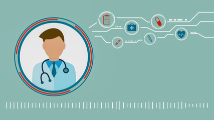 online medical consultant, concept of telemedicine, cartoon, flat style