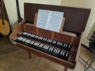 vintage harpsichord, old piano