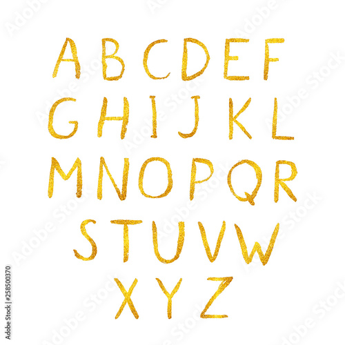 Gold glitter shiny vector alphabet  Hand drawn golden