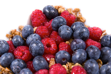 Raspberries, Blueberries, Walnuts and Oatmeal