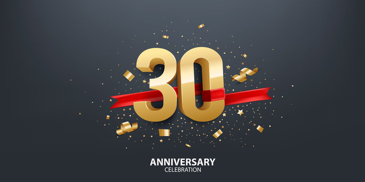 30th Anniversary celebration. 3D Golden numbers with confetti and red ribbon.