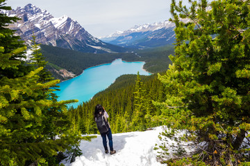 A Tourist Woman standing on snow takig pictures of Peyto Lake, Banff National Park, Alberta, Canada