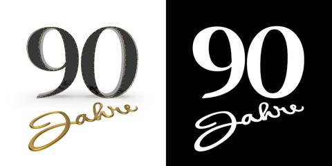 German golden number ninety years. 3D render