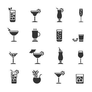 Vector set of cocktail icons.