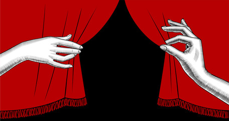 Female hands pulling aside the red curtain on black background