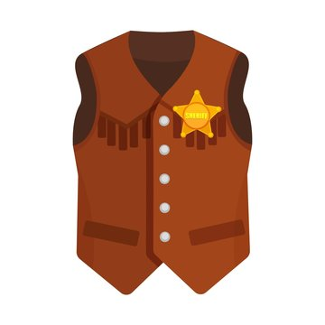 Vector illustration on a colorless background with a cowboy vest with the sheriff's star