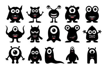 Door stickers Monster Set of cute black monster on white background