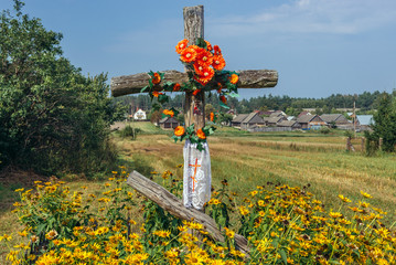 Wooden roadside shrine in Soce village famous for its folk architecture in Podlasie region of Poland