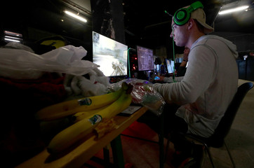 A gamer plays during the Electronic Sports Festival, Austria's largest LAN Party in Vienna